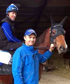 Fast forward to May 2019 … Trent Edmonds and work rider Peter Brown with Houtzen at her Newmarket base in England some weeks out from her first international assignment in the KIng Stands Stakes at Royal Ascot. 